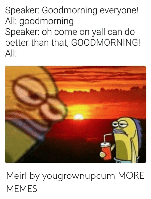 Dank, Memes, and Target: Speaker: Goodmorning everyone!  All: goodmorning  Speaker: oh come on yall can do  better than that, GOODMORNING!  All Meirl by yougrownupcum MORE MEMES