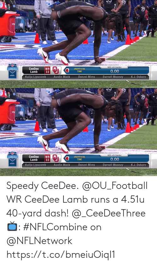 yard: Speedy CeeDee.  @OU_Football WR CeeDee Lamb runs a 4.51u 40-yard dash! @_CeeDeeThree  📺: #NFLCombine on @NFLNetwork https://t.co/bmeiuOiql1
