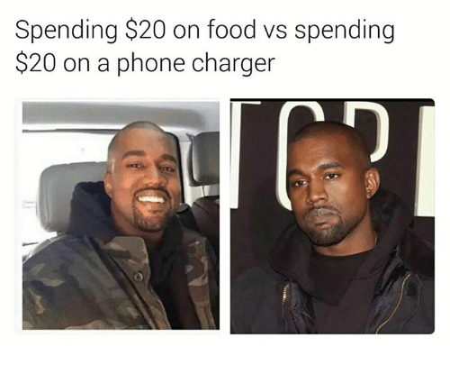 Phone Charger: Spending $20 on food vs spending  $20 on a phone charger  62