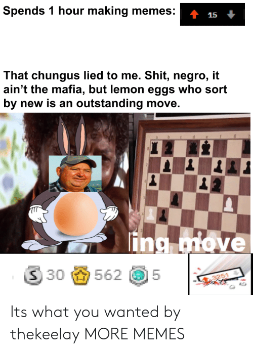 Chungus: Spends 1 hour making memes:  That chungus lied to me. Shit, negro, it  ain't the mafia, but lemon eggs who sort  by new is an outstanding move.  lin  ⑤30齒562 @5  |  3251 Its what you wanted by thekeelay MORE MEMES