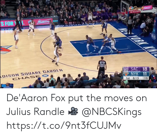Memes, Square, and 🤖: Spert  CALIFOR  StateFarth  1Budweiser  S FOR  ALOK  ORK KW  KIA  50  ans SAC 18  DISON SQUARE GARDEN  CHA SE O  NYK 11  :16  1st 6:13 De'Aaron Fox put the moves on Julius Randle  🎥 @NBCSKings  https://t.co/9nt3fCUJMv