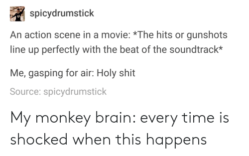 Shit, Brain, and Monkey: spicydrumstick  An action scene in a movie: *The hits or gunshots  line up perfectly with the beat of the soundtrack*  Me, gasping for air: Holy shit  Source: spicydrumstick My monkey brain: every time is shocked when this happens