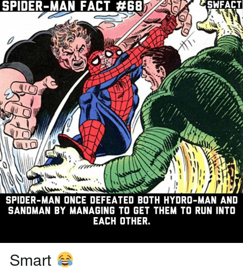 hydro: SPIDER-MAN FACT #68  SWFACT  SPIDER-MAN ONCE DEFEATED BOTH HYDRO-MAN AND  SANDMAN BY MANAGING TO GET THEM TO RUN INTO  EACH OTHER. Smart 😂