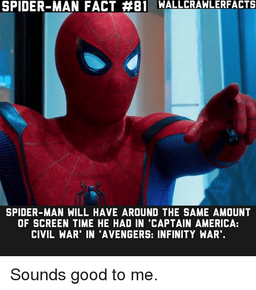 """Captain America: Civil War: SPIDER-MAN FACT #81 WALLCRAWLERFACTS  SPIDER-MAN WILL HAVE AROUND THE SAME AMOUNT  OF SCREEN TIME HE HAD IN """"CAPTAIN AMERICA:  CIVIL WAR' IN 'AVENGERS: INFINITY WAR Sounds good to me."""