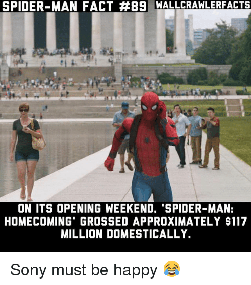 spider-man-homecoming: SPIDER-MAN FACT #89 WALLCRAWLERFACTS  ON ITS OPENING WEEKEND. 'SPIDER-MAN:  HOMECOMING GROSSED APPROXIMATELY $117  MILLION DOMESTICALLY. Sony must be happy 😂