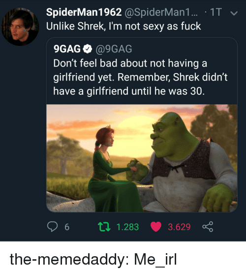 9gag, Bad, and Sexy: SpiderMan1962 @SpiderMan1. 1T  Unlike Shrek, I'm not sexy as fuck  9GAG @9GAG  Don't feel bad about not having a  girlfriend yet. Remember, Shrek didn't  have a girlfriend until he was 30.  6 п 1.283 3.629 ç the-memedaddy:  Me_irl