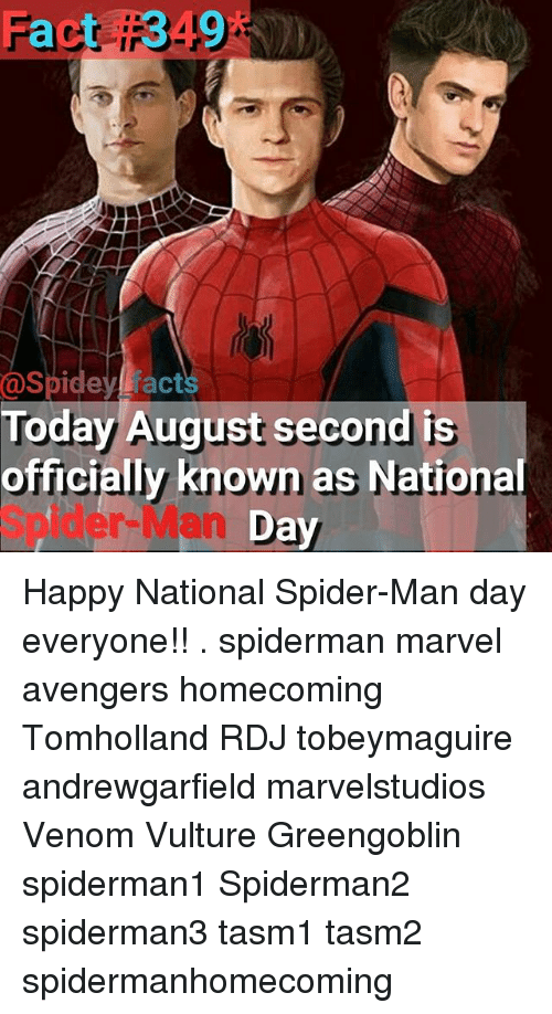 Vulture: Spidey facts  Today August second is  officially known as National  Spider-Man D Happy National Spider-Man day everyone!! . spiderman marvel avengers homecoming Tomholland RDJ tobeymaguire andrewgarfield marvelstudios Venom Vulture Greengoblin spiderman1 Spiderman2 spiderman3 tasm1 tasm2 spidermanhomecoming