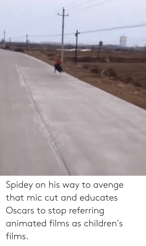 Oscars: Spidey on his way to avenge that mic cut and educates Oscars to stop referring animated films as children's films.