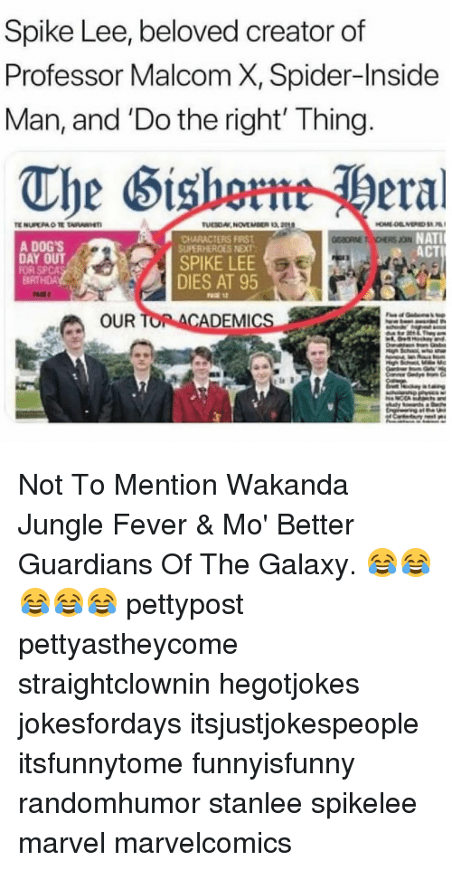 Dogs, Memes, and Spca: Spike Lee, beloved creator of  Professor Malcom X, Spider-Inside  Man, and 'Do the right' Thing  The Sishmeral  CHARACTERS FIRST  SUPERHEROES NEXT  NATI  ACT  A DOG'S  FOR SPCA  DIES AT 95  OUR  ADEMICs Not To Mention Wakanda Jungle Fever & Mo' Better Guardians Of The Galaxy. 😂😂😂😂😂 pettypost pettyastheycome straightclownin hegotjokes jokesfordays itsjustjokespeople itsfunnytome funnyisfunny randomhumor stanlee spikelee marvel marvelcomics