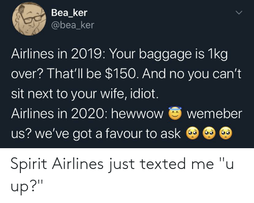 """u up: Spirit Airlines just texted me """"u up?"""""""