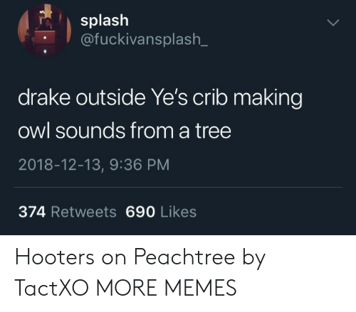Hooters: splash  @fuckivansplash_  drake outside Ye's crib making  owl sounds from a tree  2018-12-13, 9:36 PM  374 Retweets 690 Likes Hooters on Peachtree by TactXO MORE MEMES