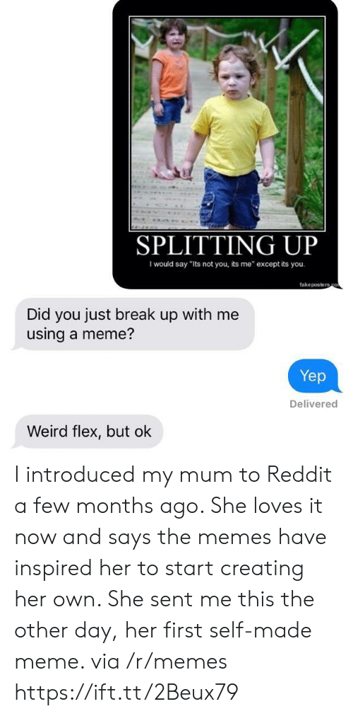 "Flexing, Meme, and Memes: SPLITTING UP  I would say ""Its not you, its me"" except its you  fakeposters  Did you just break up with me  using a meme?  Yep  Delivered  Weird flex, but ok I introduced my mum to Reddit a few months ago. She loves it now and says the memes have inspired her to start creating her own. She sent me this the other day, her first self-made meme. via /r/memes https://ift.tt/2Beux79"