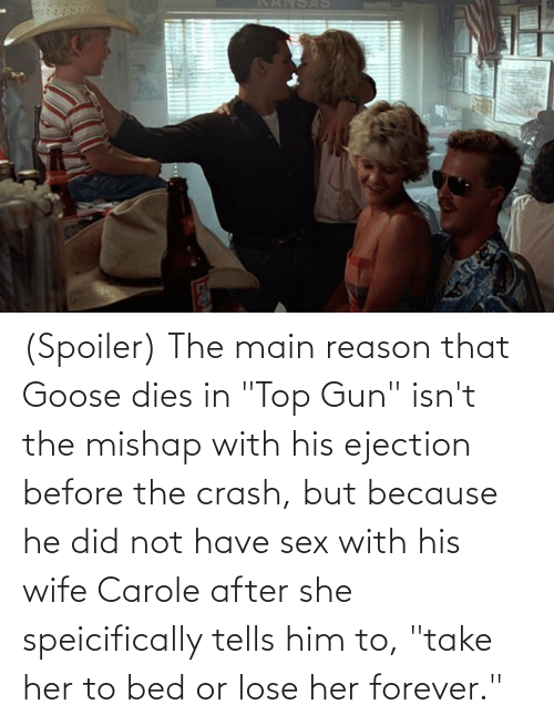 """have sex: (Spoiler) The main reason that Goose dies in """"Top Gun"""" isn't the mishap with his ejection before the crash, but because he did not have sex with his wife Carole after she speicifically tells him to, """"take her to bed or lose her forever."""""""
