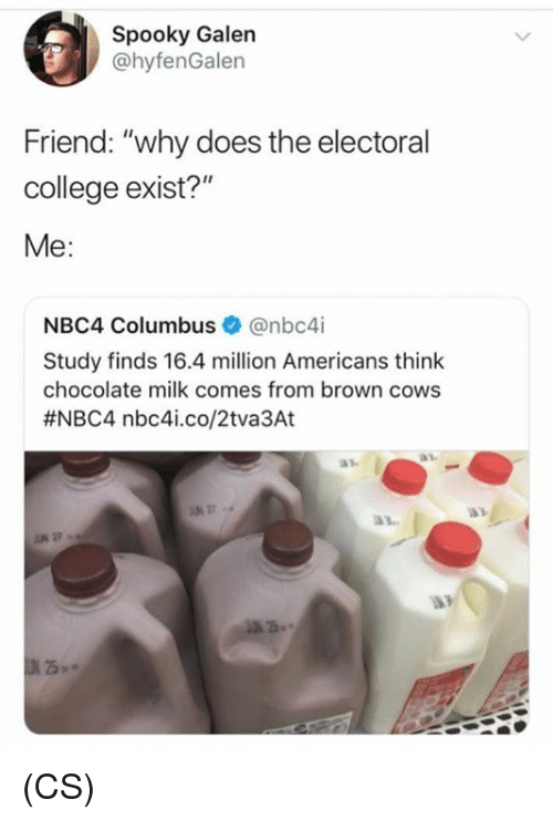 "College, Memes, and Chocolate: Spooky Galen  @hyfenGalen  Friend: ""why does the electoral  college exist?""  Me:  NBC4 Columbus Ф @nbc4i  Study finds 16.4 million Americans think  chocolate milk comes from brown cows  #NBC4 nbc4..co/2tva3At  27 (CS)"