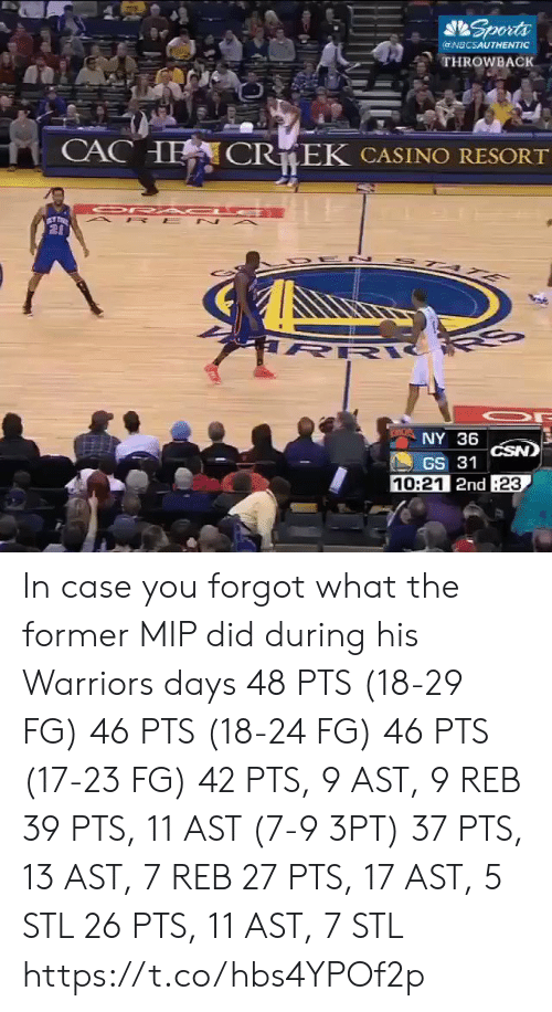 Casino: Sports  @NBCSAUTHENTIC  THROWBACK  CACHE  CR EK CASINO RESORT  OR A C E  A P E N A  20  STA E  R  NY 36  CSN)  GS 31  10:21 2nd 23 In case you forgot what the former MIP did during his Warriors days   48 PTS (18-29 FG) 46 PTS (18-24 FG) 46 PTS (17-23 FG) 42 PTS, 9 AST, 9 REB 39 PTS, 11 AST (7-9 3PT) 37 PTS, 13 AST, 7 REB 27 PTS, 17 AST, 5 STL 26 PTS, 11 AST, 7 STL https://t.co/hbs4YPOf2p