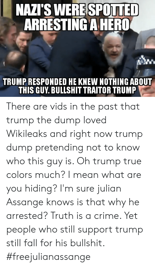 Crime, Fall, and Memes: SPOTTED  ARRESTING A HERO  NAZI'S WERE  TRUMP RESPONDED HE KNEW NOTHING ABOUT  THIS GUY. BULLSHIT TRAITOR TRUMP There are vids in the past that trump the dump loved Wikileaks and right now trump dump pretending not to know who this guy is. Oh trump true colors much? I mean what are you hiding? I'm sure julian Assange knows is that why he arrested? Truth is a crime. Yet people who still support trump still fall for his bullshit. #freejulianassange