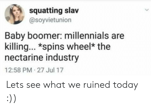 Squatting: squatting slav  @soyvietunion  Baby boomer: millennials are  killing. *spins wheel* the  nectarine industry  12:58 PM 27 Jul 17 Lets see what we ruined today :))