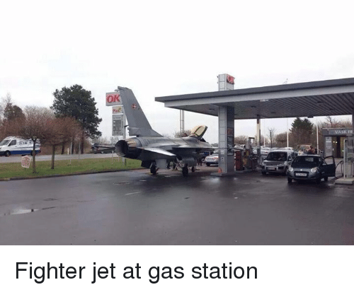 Gas Station, Jets, and Slavic: ss  にMASK FF Fighter jet at gas station