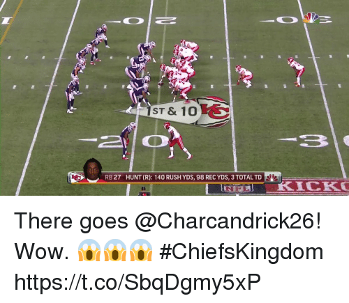 Totaled: ST & 10  RB 27  HUNT (R): 140 RUSH YDS, 98 REC YDS, 3 TOTAL TD There goes @Charcandrick26!  Wow. 😱😱😱 #ChiefsKingdom https://t.co/SbqDgmy5xP