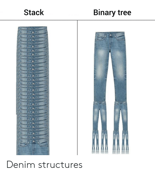 Tree, Stack, and Binary: Stack  Binary tree Denim structures