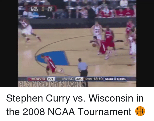 ncaa tournament: STAN 31 2ND  TEXAS SS 1921  DAVID 51  WISC 45  2ND 13:10 NCAA CBS Stephen Curry vs. Wisconsin in the 2008 NCAA Tournament 🏀