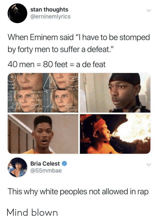 "Eminem: stan thoughts  @erninemlyrics  When Eminem said ""I have to be stomped  by forty men to suffer a defeat.""  40 men 80 feet a de feat  A=aY  C=2Tr  V= xT2h  Jsimxdcosx+  +C  CO  JgdsIncos+  dIntoC  sin x  30  arcig  OOWEEE TOMBER.COM  Bria Celest  @55mmbae  This why white peoples not allowed in rap Mind blown"