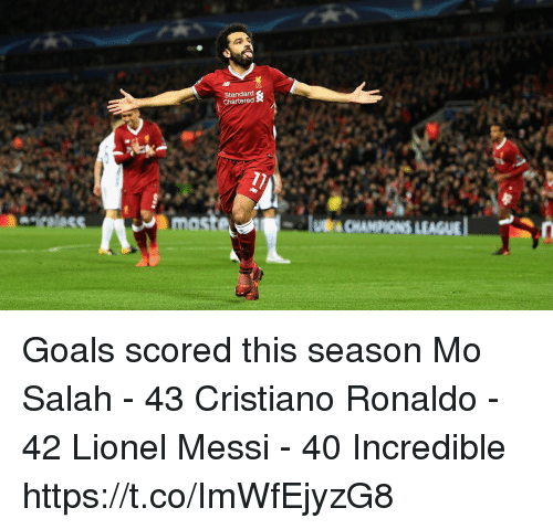 Mast: Standard  Chartered  mast  LEAGUE Goals scored this season  Mo Salah - 43 Cristiano Ronaldo - 42 Lionel Messi - 40  Incredible https://t.co/ImWfEjyzG8