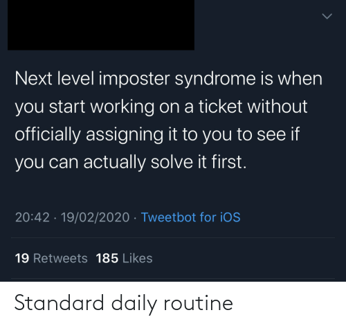 routine: Standard daily routine