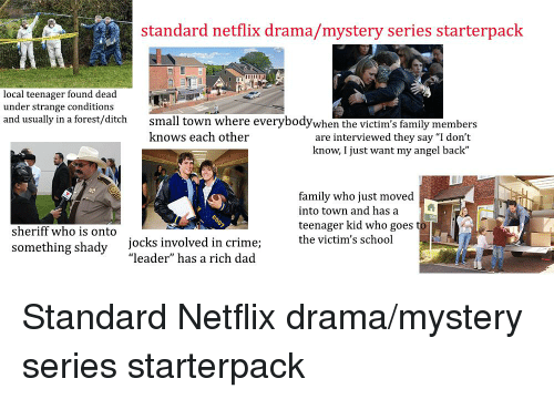 "Crime, Dad, and Family: standard netflix drama/mystery series starterpack  local teenager found dead  under strange conditions  and usually in a forest/ditch  small town where everybodywhen  knows each other  members  are interviewed they say ""I don't  know, I just want my angel back""  family who just moved  into town and hasa  teenager kid who goes  sheriff who is onto  jocks involved in crime;  ""leader"" has a rich dad  the victim's school  something shady"