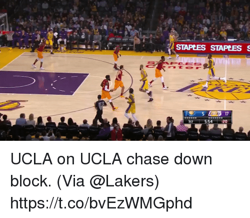 ucla: STAPEES STAPLESS  PCES  157-  5:54:20 UCLA on UCLA chase down block.  (Via @Lakers)  https://t.co/bvEzWMGphd
