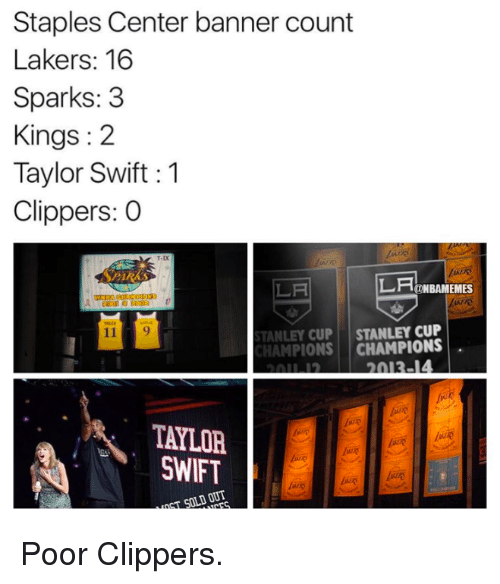 Staples Center: Staples Center banner count  Lakers: 16  Sparks: 3  Kings 2  Taylor Swift 1  Clippers: O  LA  LA  ONBAMEMES  STANLEY CUP  STANLEY CUP  CHAMPIONS  2013-14  TAYLOR  SWIFT  OTT Poor Clippers.