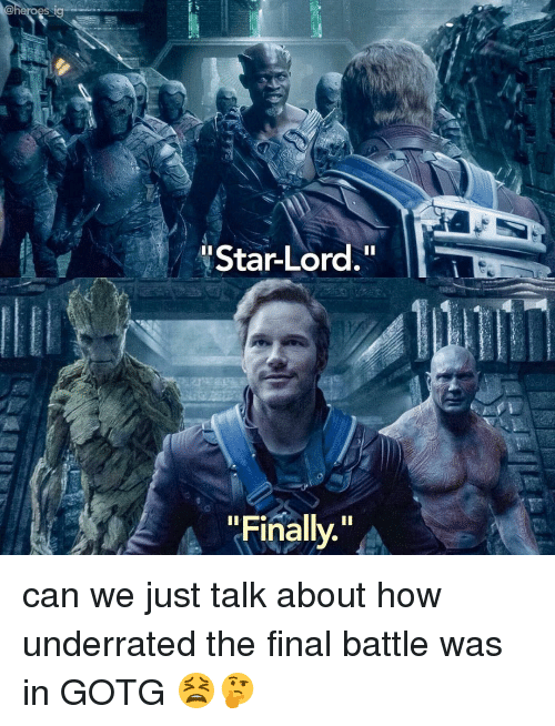 "Memes, 🤖, and Star Lord: 'Star-Lord.""  ""Finally."" can we just talk about how underrated the final battle was in GOTG 😫🤔"