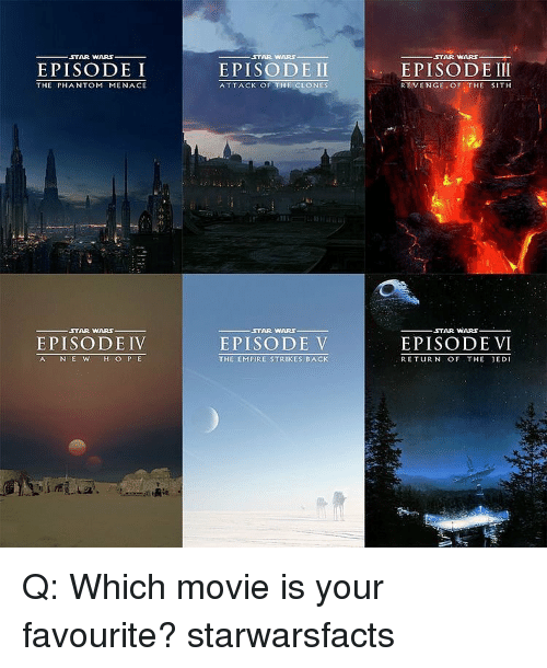strike back: ,STAR WARS  EPISODE I  THE PHANTOM MENACE  STAR WARS  EPISODE IV  AC N E W  H O P E  STAR WARS  EPISODE II  ATTACK OF THE CLONES  STAR WARS.  EPISODE V  THE EMPIRE STRIKES BACK  STAR WARS  EPISODE III  REVENGE OF  THE SITH  STAR WARS  EPISODE VI  RETURN OF THE JEDI Q: Which movie is your favourite? starwarsfacts