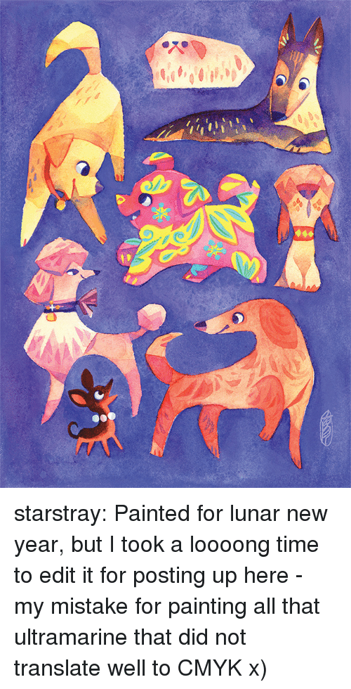 New Year's, Target, and Tumblr: starstray:    Painted for lunar new year, but I took a loooong time to edit it for posting up here - my mistake for painting all that ultramarine that did not translate well to CMYK x)