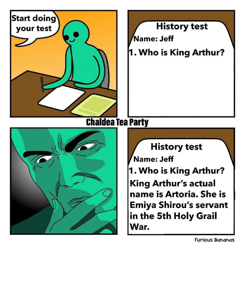 Arthurs: Start doing  History test  your test  /Name: Jeff  1. Who is King Arthur?  Chaldea Tea Party  History test  Name: Jeff  1. Who is King Arthur?  King Arthur's actual  name is Artoria. She is  Emiya Shirou's servant  in the 5th Holy Grail  War.  Furious Bahahas Me, An Intellectual and a Weeb