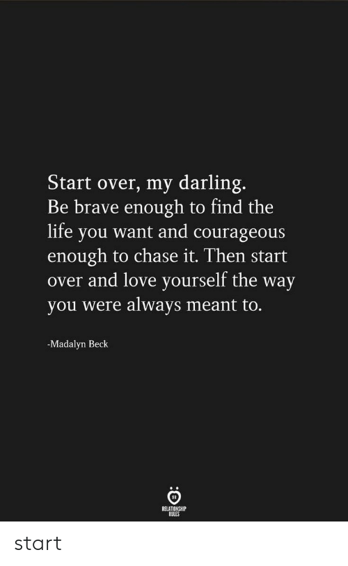 Courageous: Start over, my darling.  Be brave enough to find the  life you want and courageous  enough to chase it. Then start  over and love yourself the way  you were always meant to.  -Madalyn Beck  RELATIONSHIP  RULES start