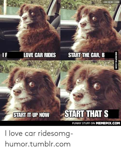 Car Rides: START THE CAR, B  LOVE CAR RIDES  IF  START THAT S  START IT UP NOW  FUNNY STUFF ON MEMEPIX.COM  MEMEPIX.COM I love car ridesomg-humor.tumblr.com