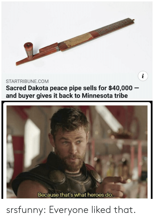 tribe: STARTRIBUNE.COM  Sacred Dakota peace pipe sells for $40,000 -  and buyer gives it back to Minnesota tribe  Because that's what heroes do. srsfunny:  Everyone liked that.
