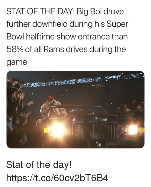 Football, Nfl, and Sports: STAT OF THE DAY: Big Boi drove  further downfield during his Super  Bowl halftime show entrance than  58% of all Rams drives during the  game Stat of the day! https://t.co/60cv2bT6B4