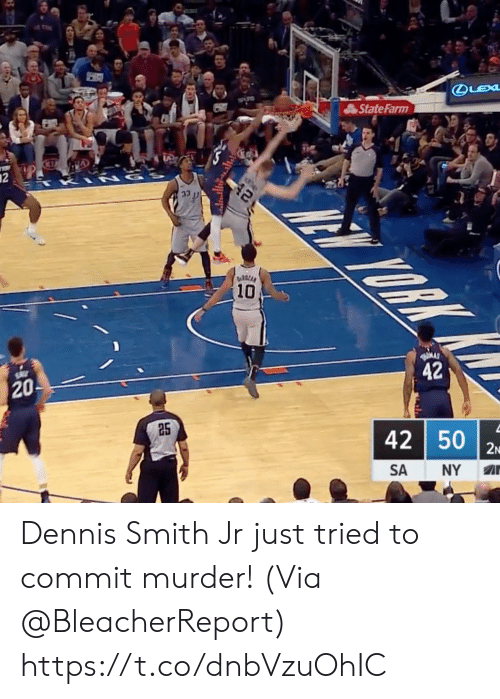 Dennis Smith Jr: State Farm  10  20  42  25  42 50  SA NY A Dennis Smith Jr just tried to commit murder!   (Via @BleacherReport)  https://t.co/dnbVzuOhIC