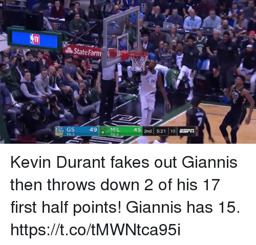 Kevin Durant, Memes, and State Farm: State Farm  49MIL 45 2nd 5:2110  D3  GS Kevin Durant fakes out Giannis then throws down 2 of his 17 first half points!    Giannis has 15. https://t.co/tMWNtca95i