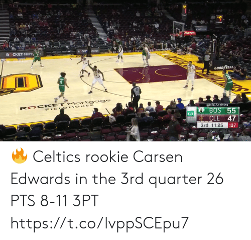 State Farm: State Farm  rtgoge  CKET  R CKET Mort  GOOD YEAR  R OO KET Mort gage  FIEL PHOUSE  @NBCSceltics  55  BOS  ca  CLE  47  3rd 11:25  :07 🔥 Celtics rookie Carsen Edwards in the 3rd quarter  26 PTS 8-11 3PT   https://t.co/lvppSCEpu7