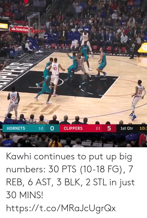 Memes, Clippers, and 🤖: State Farn  AG  CALI EN  40  20  21  1-2 0  5  CLIPPERS  HORNETS  2-1  1st Qtr  10:3  27 Kawhi continues to put up big numbers: 30 PTS (10-18 FG), 7 REB, 6 AST, 3 BLK, 2 STL in just 30 MINS!  https://t.co/MRaJcUgrQx