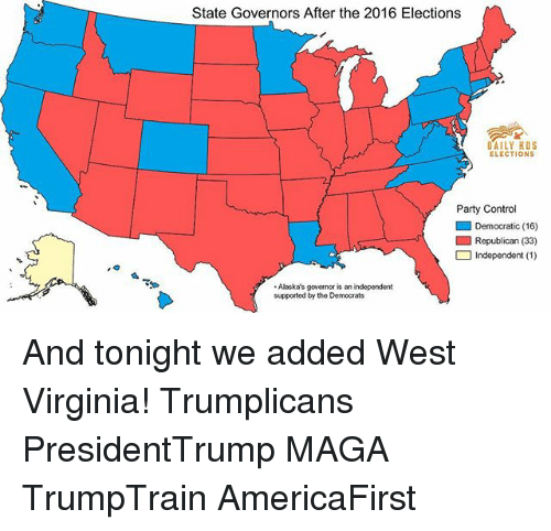 2016 Elections: State Governors After the 2016 Elections  DAILY KOS  ELECTIONS  Party Control  ■ Democratic (16)  □ Independent (1 )  Alaska's governor is an independent  supported by the Democrats And tonight we added West Virginia! Trumplicans PresidentTrump MAGA TrumpTrain AmericaFirst