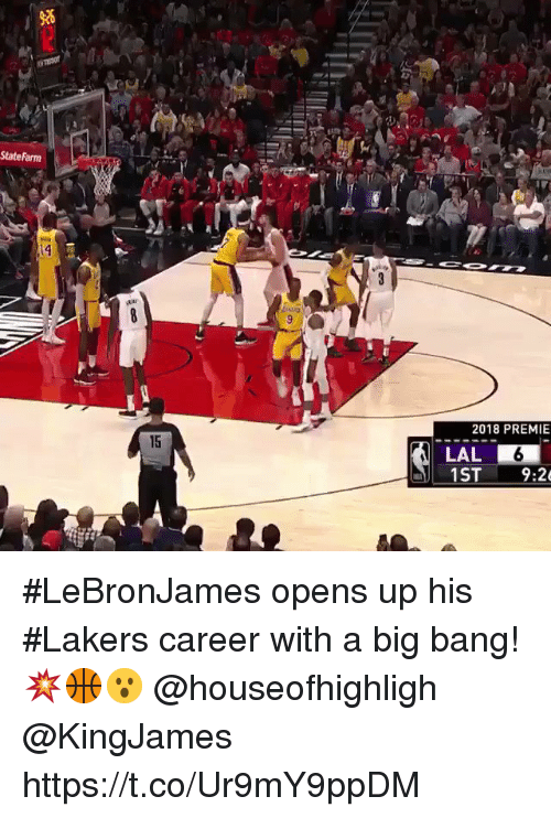 Statefarm: StateFarm  2018 PREMIE  15  LAL  9:2 #LeBronJames opens up his #Lakers career with a big bang!💥🏀😮 @houseofhighligh @KingJames https://t.co/Ur9mY9ppDM