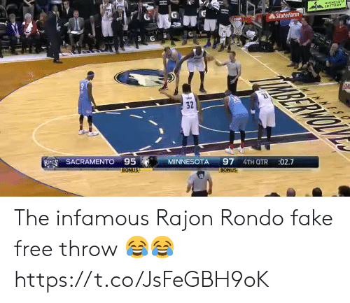Statefarm: StateFarm  32  ,  SACRAMENTO95 MINNESOTA 97 41  27  BONUS  BONUS The infamous Rajon Rondo fake free throw 😂😂 https://t.co/JsFeGBH9oK