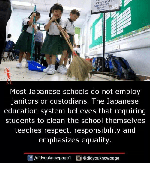 Memes, Respect, and School: STATION2  Wastepa  Baskee  Most Japanese schools do not employ  janitors or custodians. The Japanese  education system believes that requiring  students to clean the school themselves  teaches respect, responsibility and  emphasizes equality.  f/d.dyouknowpage1  舀@didyouknowpage