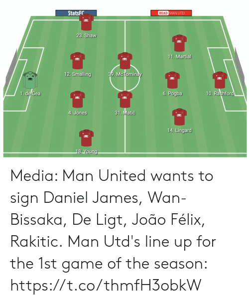 man united: StatsFC  READ  MAN UTD  23. Shaw  11. Martial  12. Smalling  39. McTomin  uic  1. de Gea  6. Pogba  10. Rashfor  31. Matić  4. Jones  14. Lingard  8 Young Media: Man United wants to sign Daniel James, Wan-Bissaka, De Ligt, João Félix, Rakitic.  Man Utd's line up for the 1st game of the season: https://t.co/thmfH3obkW