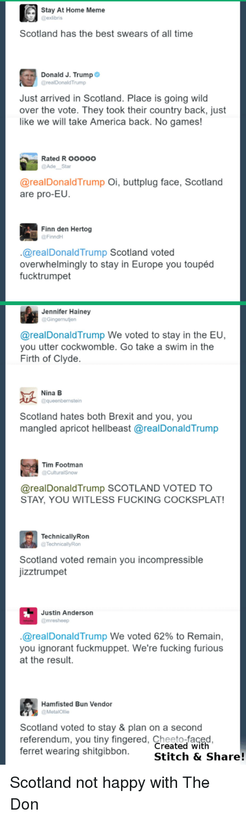 America, Donald Trump, and Finn: Stay At Home Meme  @exlibris  Scotland has the best swears of all time  Donald J. Trump  @realDonald'Trump  Just arrived in Scotland. Place is going wild  over the vote. They took their country back, just  like we will take America back. No games!  Rated Rooooo  Star  @real Donald Trump  Oi, buttplug face, Scotland  are pro-EU.  Finn den Hertog  FinndH  realDonald Trump Scotland voted  overwhelmingly to stay in Europe you toupéd  fucktrumpet  Jennifer Hainey  Gingernutien  @real Donald Trump We voted to stay in the EU,  you utter cockwomble. Go take a swim in the  Firth of Clyde  Nina B  aqueenbernstein  Scotland hates both Brexit and you, you  mangled apricot hellbeast arealDonaldTrump  Tim Footman  areal Donald Trump SCOTLAND VOTED TO  STAY, YOU WITLESS FUCKING COCKSPLAT!  Technically Ron  @TechnicallyRon  Scotland voted remain you incompressible  jizztrumpet  Justin Anderson  @mre sheep  areal Donald Trump We voted 62% to Remain,  you ignorant fuckmuppet. We're fucking furious  at the result.  Hamfisted Bun Vendor  a MetalOllie  Scotland voted to stay & plan on a second  referendum, you tiny fingered, Created with  ferret wearing shitgibbon  Stitch & Share! Scotland not happy with The Don