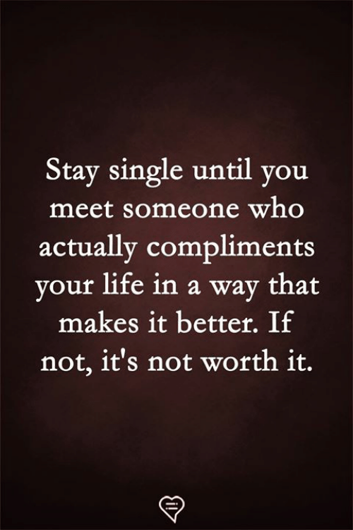 Not Worth It: Stay single until you  meet someone who  actually compliments  vour life in a way that  makes it better. If  not, it's not worth it.